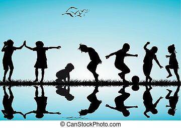 siluetas, grupo, niños jugar