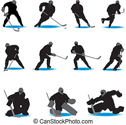 siluetas, hockey