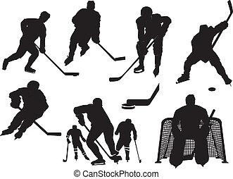 siluetas, hockey, hielo