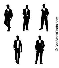 siluetas, hombres de negocios, conjunto