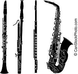 siluetas, instrumentos, woodwind