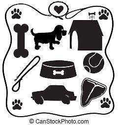 siluetas, llenar, perro