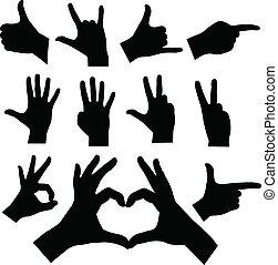 siluetas, manos
