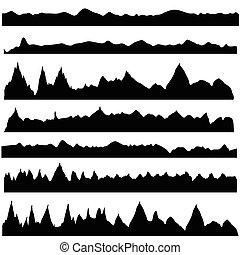 siluetas, montaña