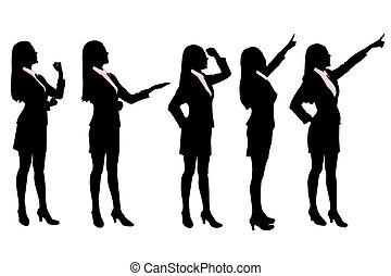 siluetas, mujeres, empresa / negocio
