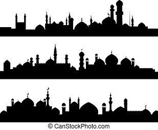 siluetas, musulmán, ciudades