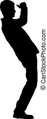 siluetas, negro, blanco, hombre, brazo levantado, plano de fondo