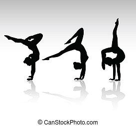 siluetas, negro, gimnasio, niña