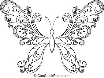 siluetas, negro, mariposa