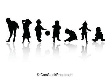siluetas, niños, -