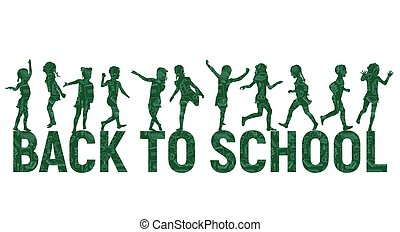 siluetas, niños, back to la escuela, en, escuela, tabla, plano de fondo
