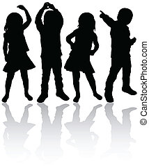 siluetas, niños, bailando