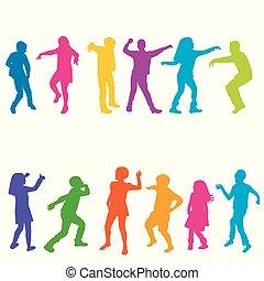 siluetas, niños, colorido, bailando