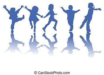 siluetas, niños, feliz