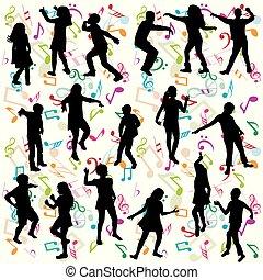 siluetas, niños, plano de fondo, bailando
