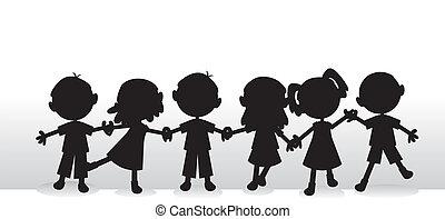 siluetas, niños, plano de fondo