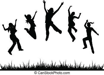 siluetas, niños, saltar