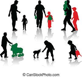 siluetas, padres, aislado