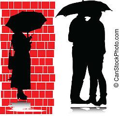 siluetas, paraguas, beso, debajo