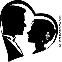 siluetas, pareja, amoroso