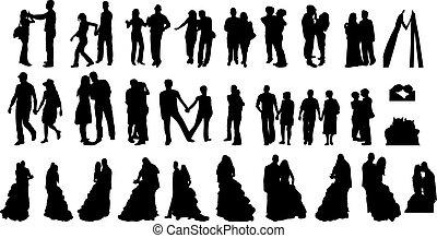 siluetas, parejas