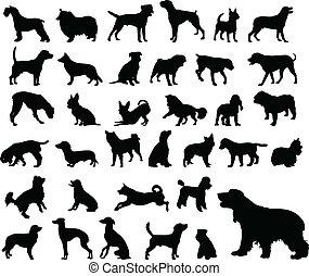 siluetas, perros