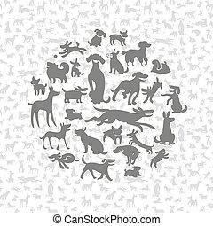 siluetas, perros, plano de fondo
