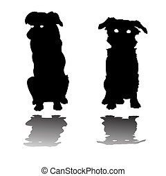 siluetas, perros, poco, dos