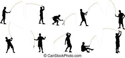 siluetas, pesca