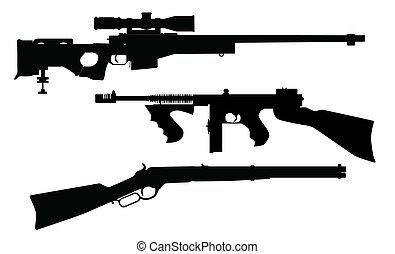 siluetas, rifle
