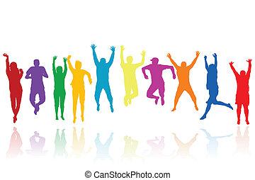 siluetas, saltar, grupo, jóvenes