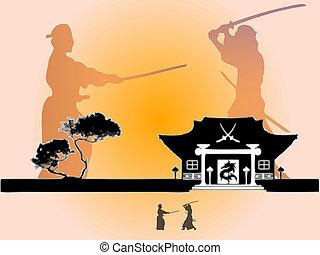 siluetas, samurai, guerrero