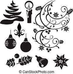 siluetas, selección, navidad