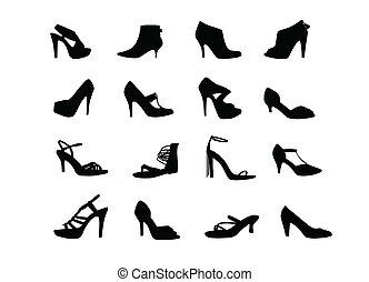 siluetas, shoes, tacón, mujeres