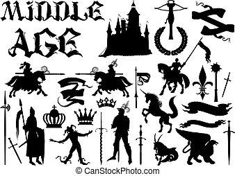 siluetas, tema, medieval, iconos