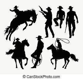 siluetas, vaquero, actividad