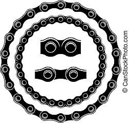siluetas, vector, bicicleta, seamless, cadena