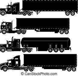 siluetas, vector, conjunto, camiones
