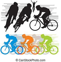 siluetas, vector, conjunto, ciclistas