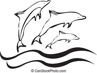 siluetas, vector, delfines