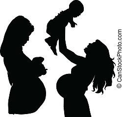 siluetas, vector, embarazada, madre