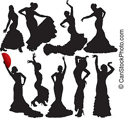 siluetas, vector, flamenco