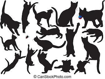siluetas, vector, gato, gatito