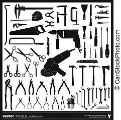siluetas, vector, herramientas