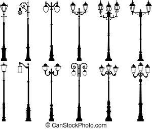siluetas, vector, lamppost.