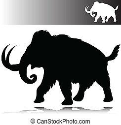 siluetas, vector, mamut
