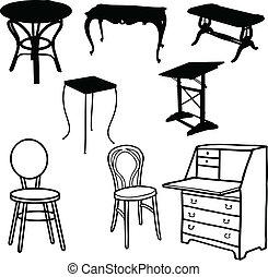 siluetas, vector, muebles