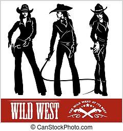 siluetas, vector, occidental, ilustración, cowgirls.