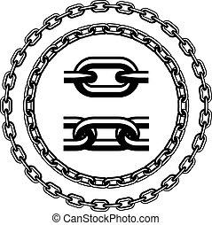 siluetas, vector, seamless, cadena