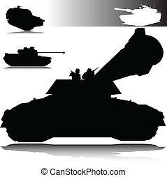 siluetas, vector, tanques